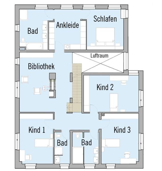 Modernes fertighaus von baufritz haus kieffer for 4 kinderzimmer grundriss