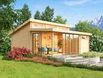 Modernes Gartenhaus mit Stufendach und bodentief verglasten Fenstern