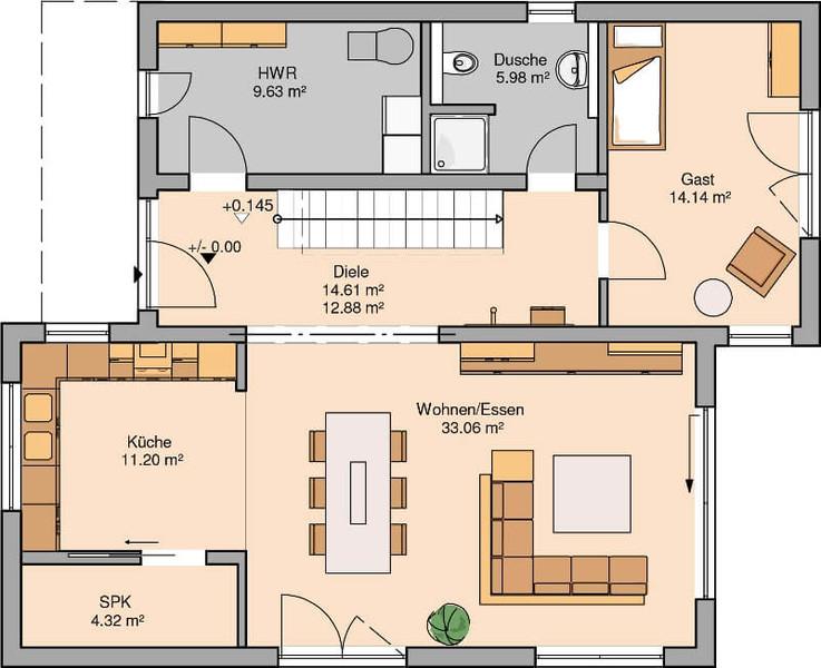 Massivhaus von kern haus futura bauhaus for Bauhaus einfamilienhaus grundriss