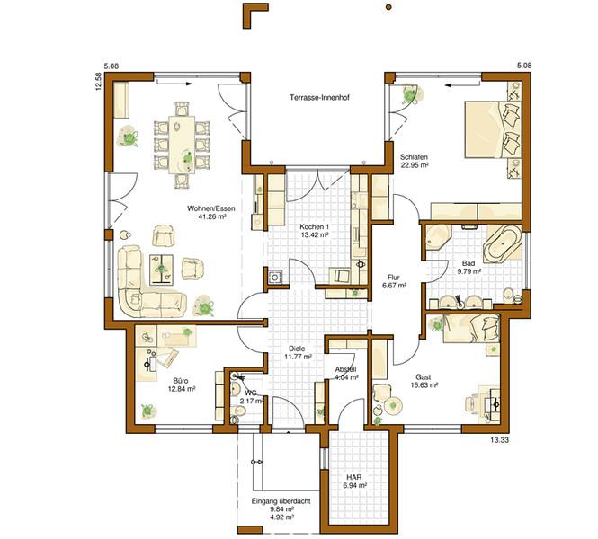 fertighaus des jahres bungalow haus liberty von rensch haus. Black Bedroom Furniture Sets. Home Design Ideas
