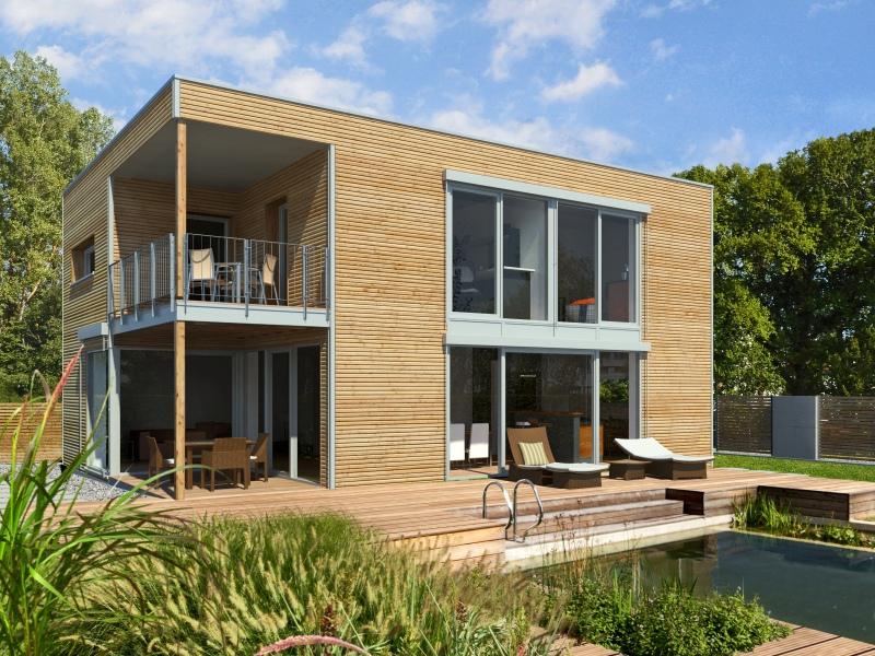 Modernes fertighaus von baufritz haus bauhaus for Haus bauen bauhausstil