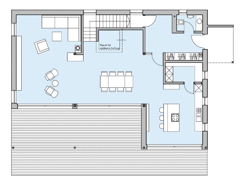 1 platz kategorie modern haus riederle von baufritz for Design haus grundriss