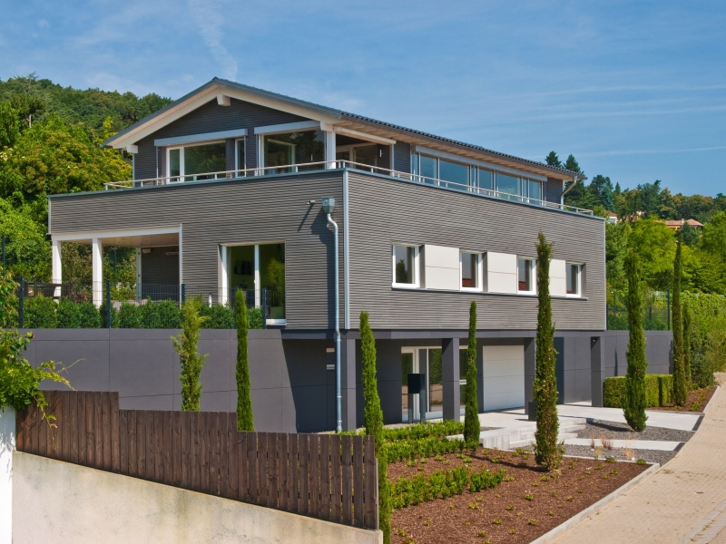 Haus bauen modern holz  Modernes Fertighaus von Baufritz - Haus Schwaab