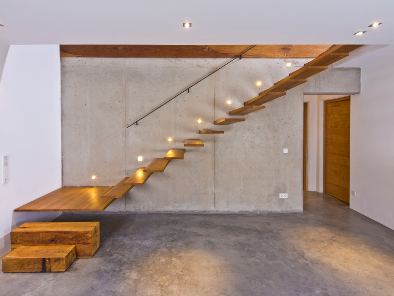 Treppen architektur einfamilienhaus  Fertighaus über 300.000€ von Baufritz - Haus Weitblick.
