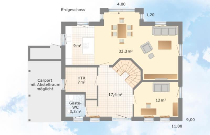 Grundriss Zeichnen Preis : Danhaus  Musterhaus Schönhagen  Grundriss EG