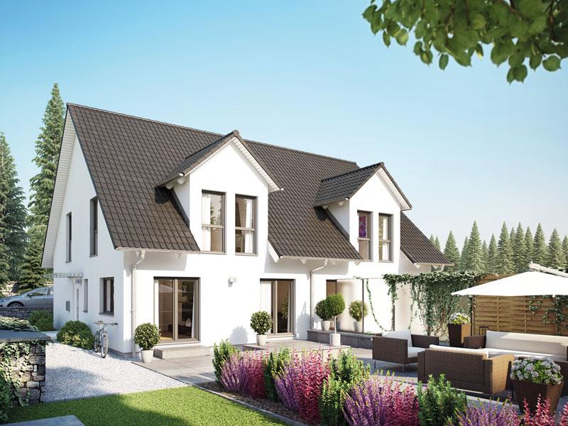 Klassisches fertighaus von hanse haus doppelhaus 45 123 for Klassisches haus bauen