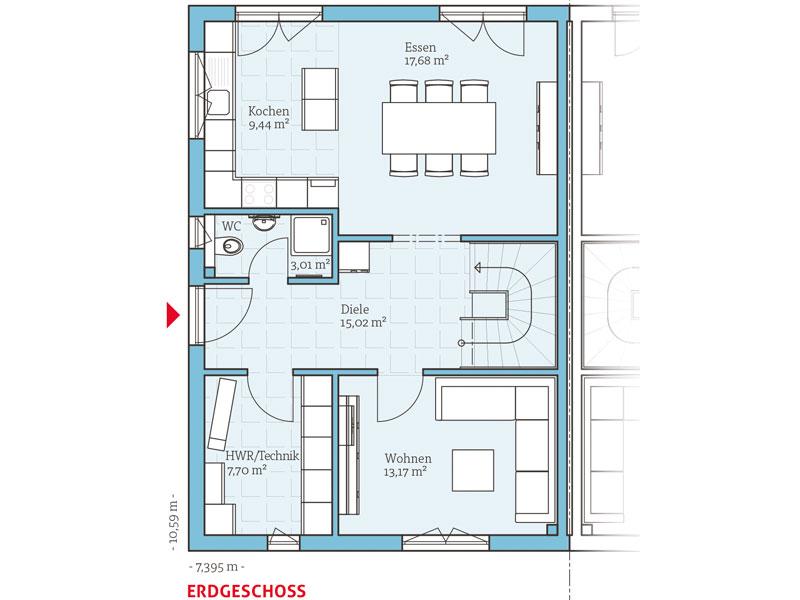 Fertighaus grundrisse doppelhaus  Klassisches Fertighaus von Hanse Haus -Doppelhaus 45-123