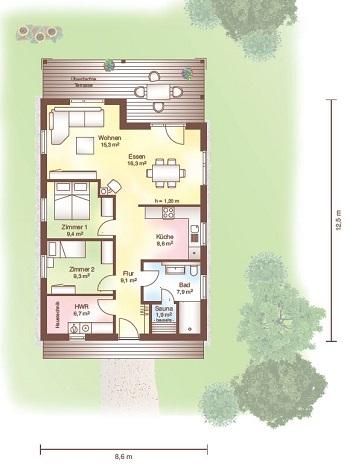 Holzhaus bungalow grundriss  Holzhaus bis 150.000€ von Fjorborg-Schwedenhaus - Haus Tunö