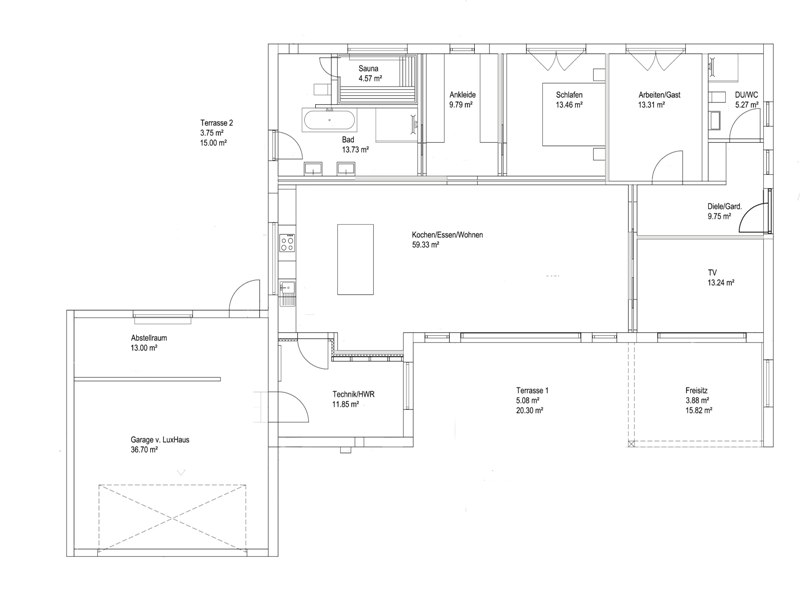 luxhaus bungalow walmdach 167. Black Bedroom Furniture Sets. Home Design Ideas