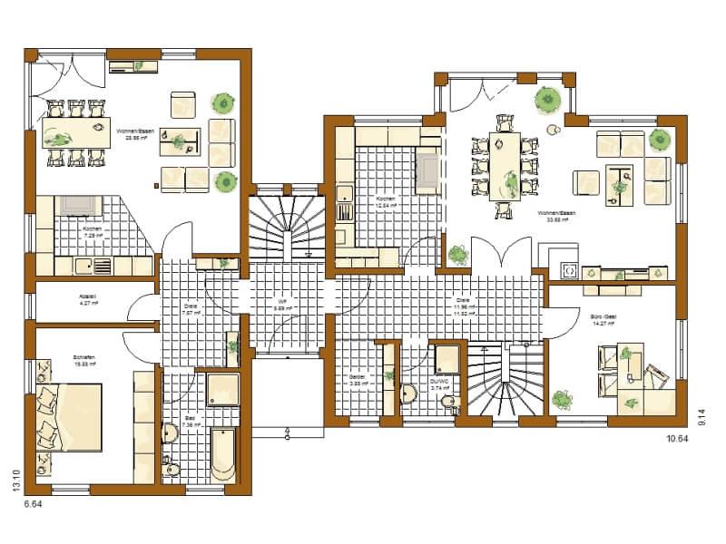 Modernes fertighaus von rensch haus gmbh haus atlanta for Fertighaus grundrisse einfamilienhaus