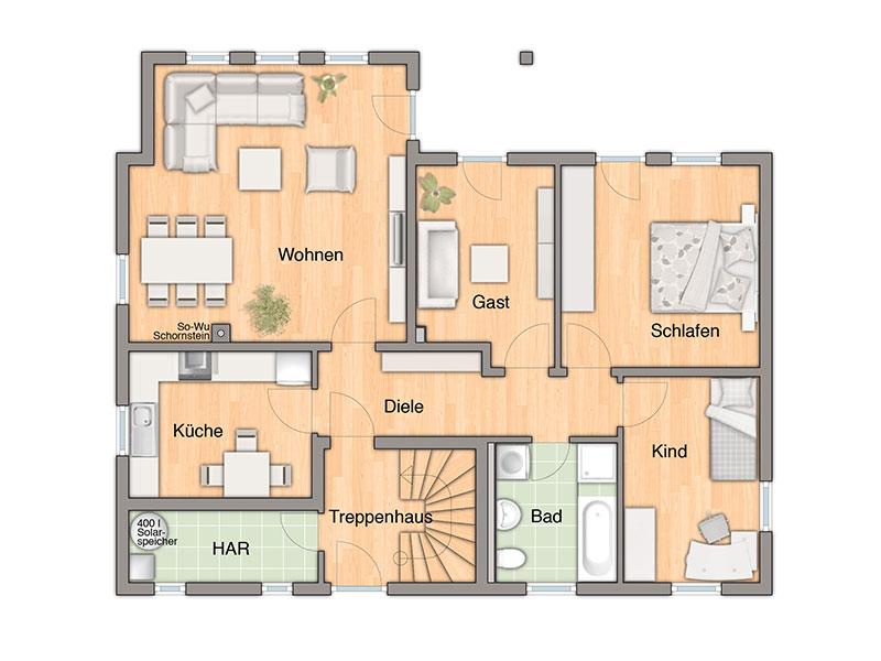 Massivhaus von town country haus domizil 192 for Grundriss zweifamilienhaus