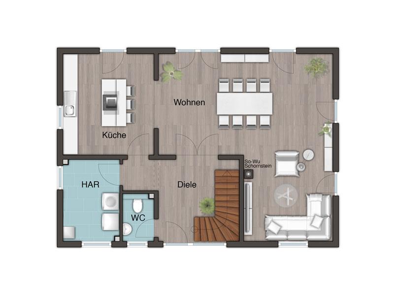 massivhaus von town country landhaus 142. Black Bedroom Furniture Sets. Home Design Ideas
