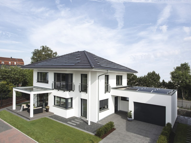 Moderne h user satteldach mit garage for Moderne architektur satteldach